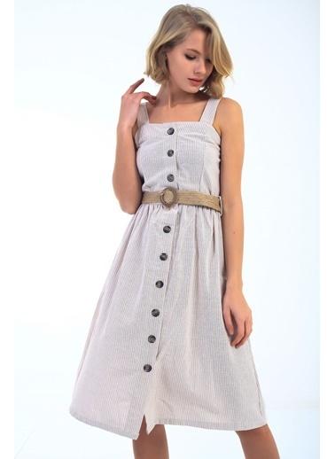 Emjey Keten Ön Düğmeli Elbise Bej